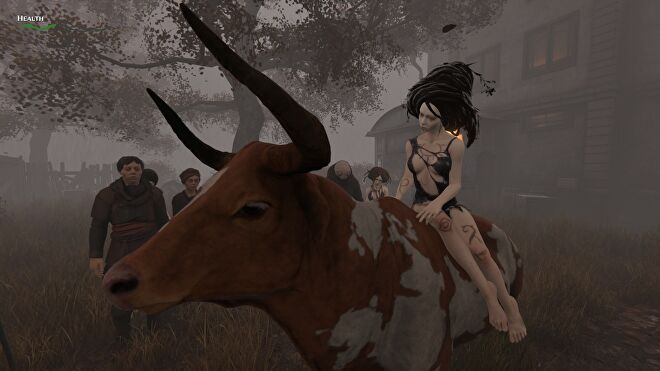 A scantily clad woman rides a cow in Pathologic