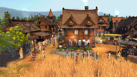 A screenshot of citybuilder Patron, showing an old wooden house with washing hanging outside surrounded by milling pedestrians, wheat crops, in what looks like a ye olde market town.