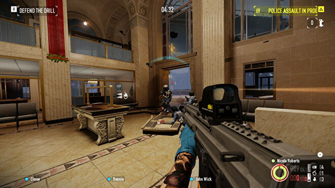 The player fires on a guard inside a bank in Payday 2