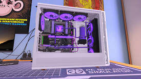 PC Building Simulator - A white PC case is open on the side with a GTX GeForce GPU inside and lots of purple lighting.