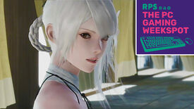 A close-up of Kaine from the Nier Replicant remake, with The PC Gaming Weekspot logo in the top right corner