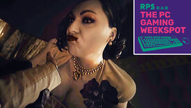 Lady Dimitrescu of Resident Evil Village sucking blood out of Ethan Winters' hand, with The PC Gaming Weekspot logo in the top right