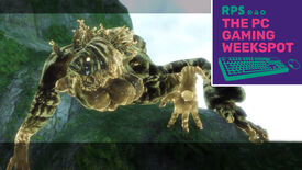 The first large Shade boss from Nier Replicant perched on a large stony, green cliff, with the logo of The PC Gaming Weekspot podcast in the top right.