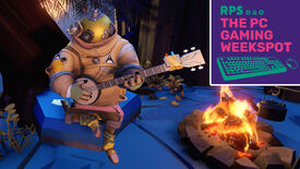 Riebeck from Outer Wilds playing his banjo by the fire with The PC Gaming Weekspot logo in the top right