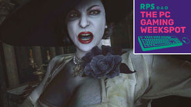 Lady Dimitrescu of Resident Evil Village looking very angry, with The PC Gaming Weekspot logo in the top right