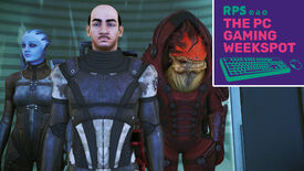 Commander Shepard, Wrex and Liara T'soni from Mass Effect Legendary Edition waiting patiently in the elevator. Shepard also looks an awful lot like Hercule Poirot, as played by David Suchet. The PC Gaming Weekspot podcast logo is in the top right of the image.