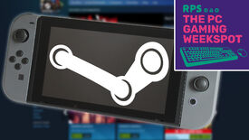 A Nintendo Switch with a Steam logo on the screen, in front of a blurry Steam home page, and The PC Gaming Weekspot podcast logo is in the top right