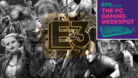 A collage of video game characters that feature in video games that are either confirmed to be at E3 2021 or could be at E3 2021, with The PC Gaming Weekspot podcast logo in the top right