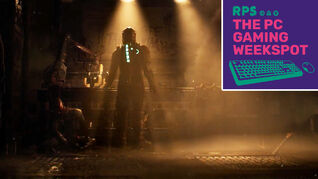 Isaac Clarke of the Dead Space remake standing with his back to the camera, and in front of a dimly lit workbench, with The PC Gaming Weekspot podcast logo in the top right
