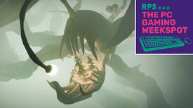 The angler fish from Dark Bramble in Outer Wilds, with The PC Gaming Weekspot podcast logo in the top right