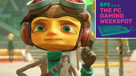 A close-up of Raz from Psychonauts 2 in the Psychonauts' headquarters, with The PC Gaming Weekspot logo in the top right