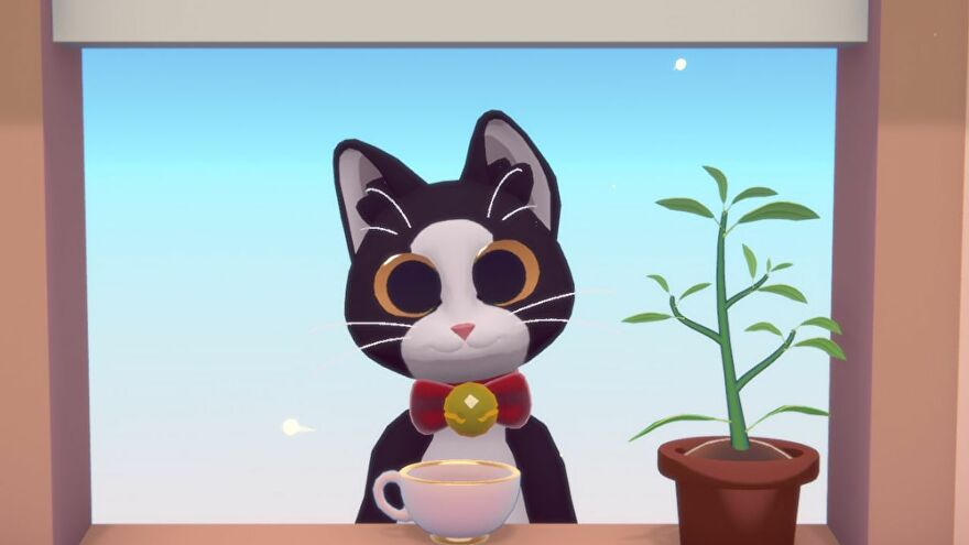 A close up of a cat in the make-tea-for-cats game Peko. It is black and white, with a red collar, and is at a window with a cup of tea resting on the sill.