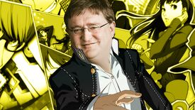 The Persona 4 Golden protagonist standing in front of a yellow background showing a number of different characters from the game, but he has the face of Gabe Newell