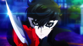 Close-up shot of Joker from Persona 5 Strikers holding a knife up to the camera