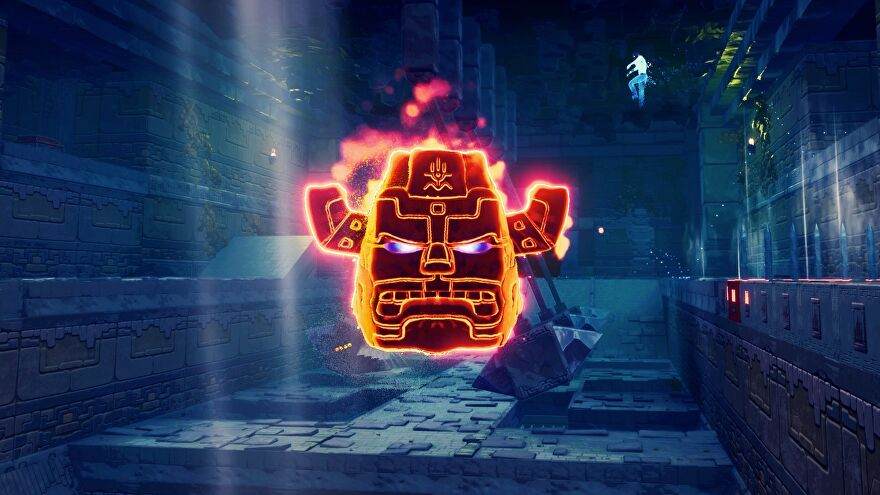 An image from Phantom Abyss showing a glowing, floating, angry statue head.