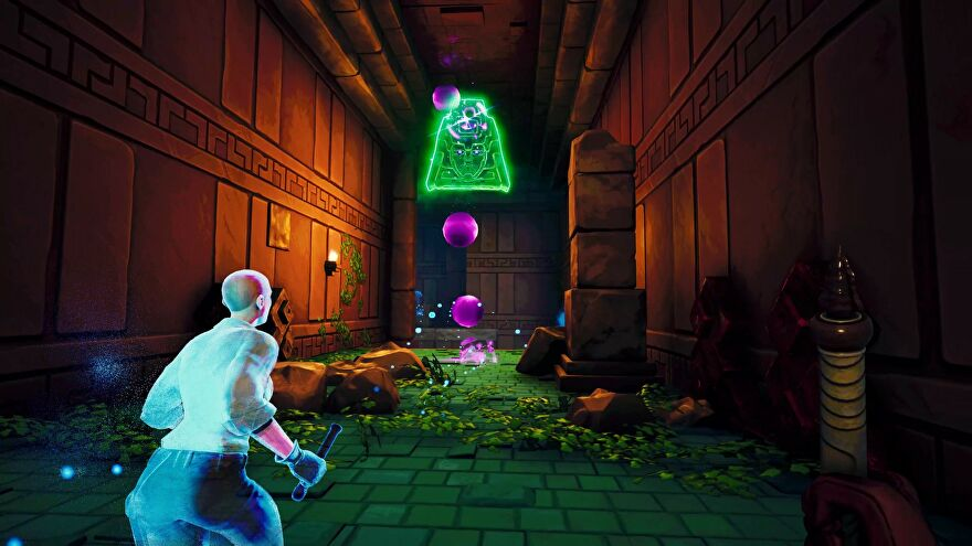 An image from Phantom Abyss which shows the player running down a temple corridor. A ghost is off to their left, and a green apparition looms in front of them both, hurling purple orbs their way.