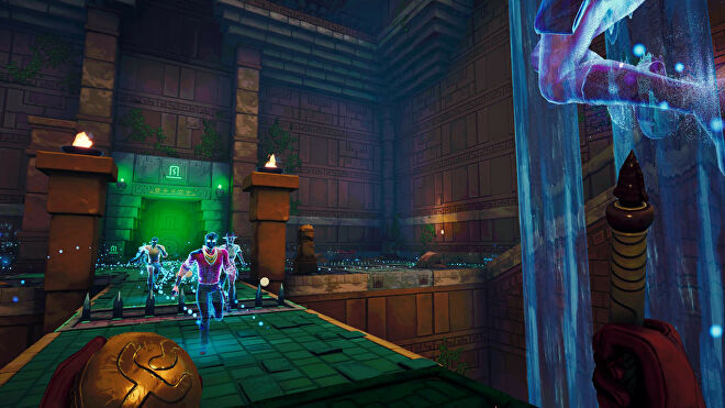 Some ghosts run through a dark and eerie temple in Phantom Abyss.