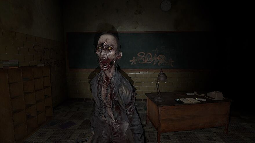 Phasmophobia photograph of a ghost: an oni with yellow eyes, a screaming mouth, and torn clothes stands close to the player in a high school classroom.