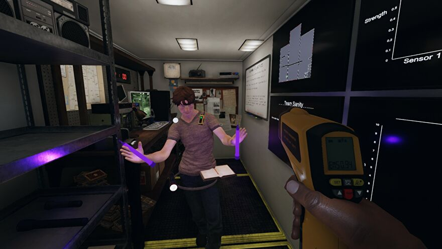 Phasmophobia - A player stands inside the truck dancing with two activated purple glowsticks while the first-person player holds up a thermometer.