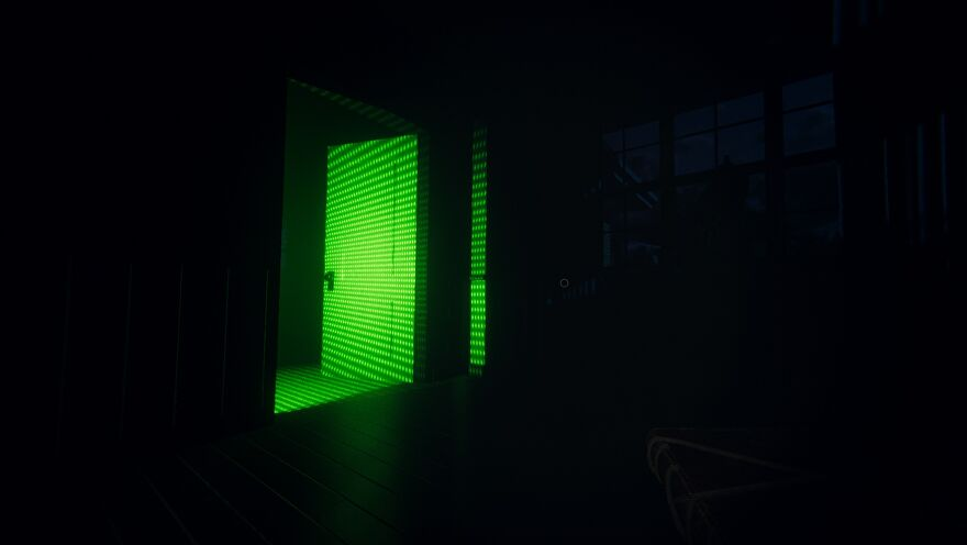 Phasmophobia - A player holds a ghost writing book while standing in a dark room and looking at an open door that has a bright green light shining on it from out of view.
