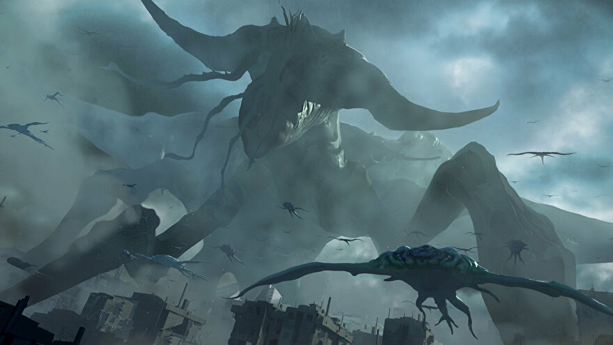 A screenshot from Phoenix Point's Festering Skies DLC, which shows an enormous monster in the sky, known as the Behemoth.