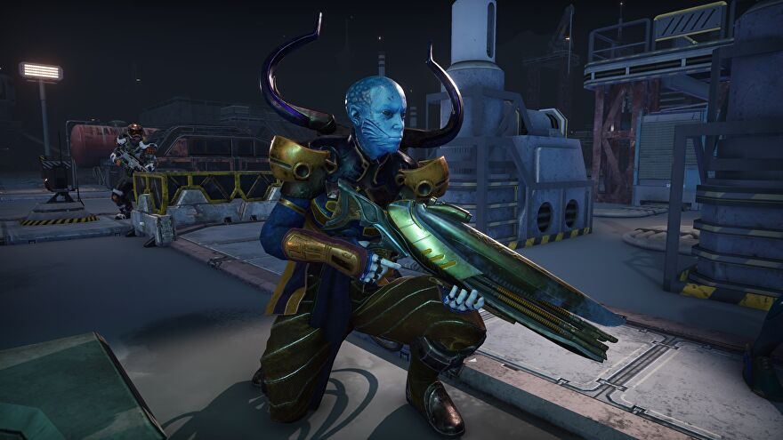 A screenshot showing a blue skin Mutoid crouching, holding a large rifle.