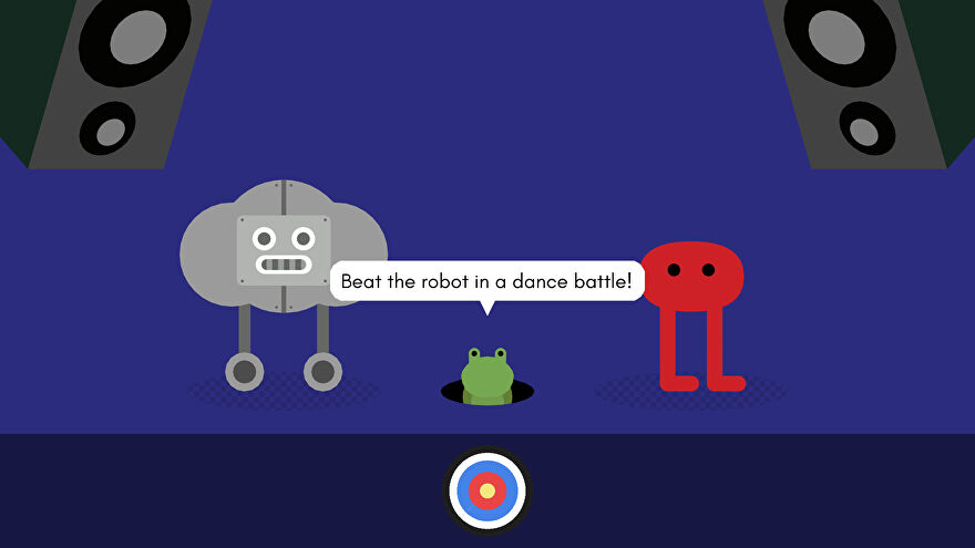 Pikuniku, from the game Pikuniku, about to take on a robot in a dance off in a nightclub