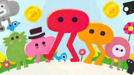 The characters of Pikuniku standing around the red blob with legs protagonist