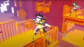 A screenshot of Pistol Whip's western-themed Smoke & Thunder update showing a polygon cowboy on a balcony aiming a pistol.