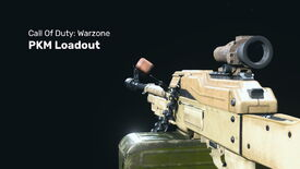Warzone's PKM on a dark background with the caption 'Call Of Duty Warzone PKM Loadout