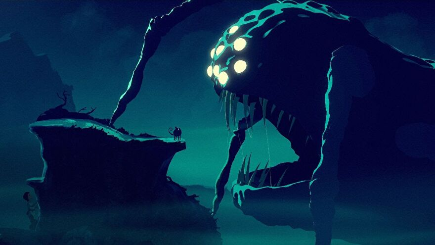 A screenshot from Planet Of Lana showing a world mostly in shadow. To the left a small creature stands on a ledge, facing a screen-filling giant spider-y thing, it's mouth wide open.