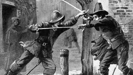 Two men in medieval clothes duel with swords