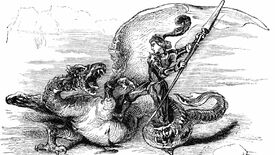 A black and white engraving of a warrior fighting the kind of dragon that would be called a wyrm