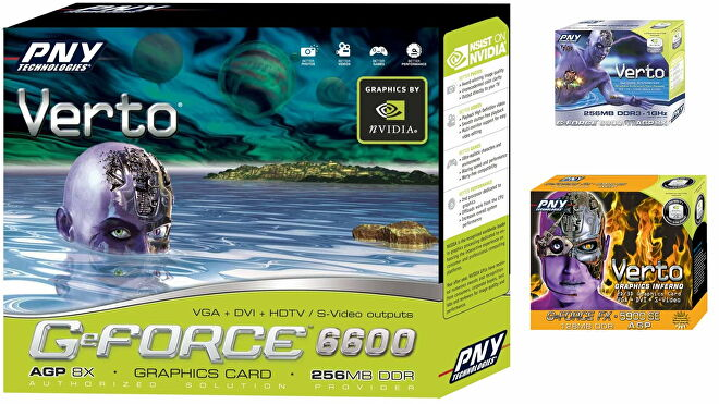 A trio of graphics card boxes, all depicting PNY's purple Verto cyborg