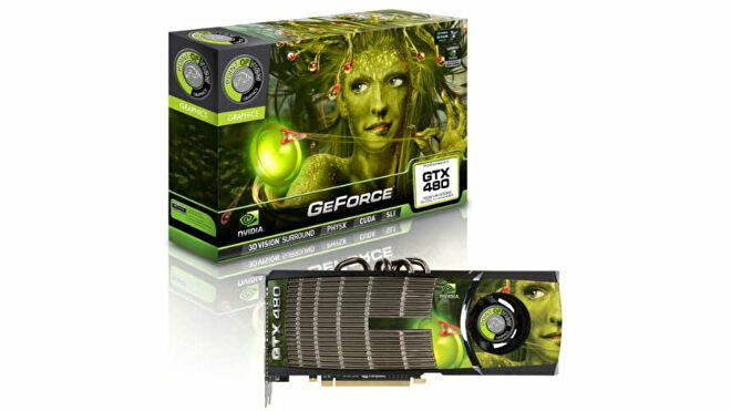 A graphics card box of Point Of View's GeForce GTX 480, showing a green women with plants for hair