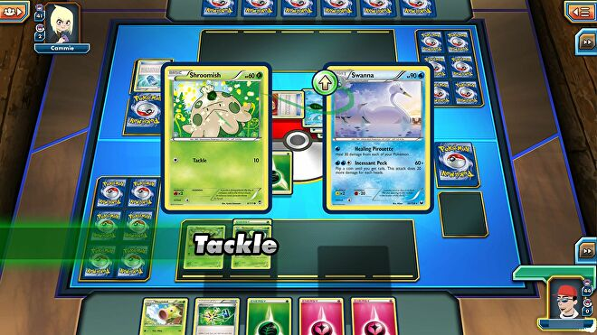 A card battle in Pokemon TCG Online - in this case, a Shroomish card vs a Swanna