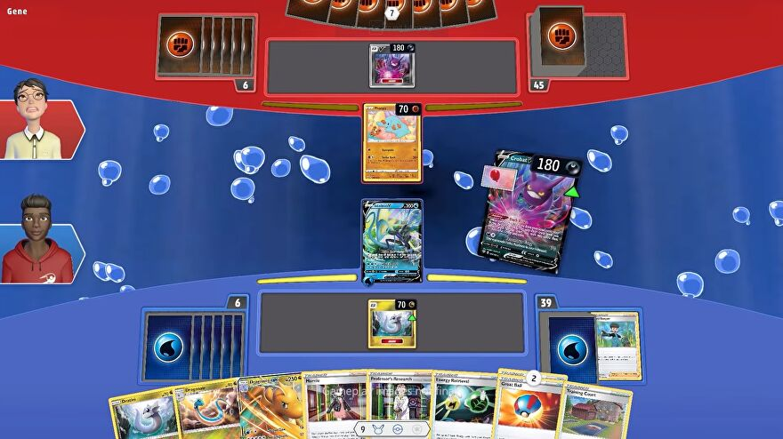 Pokemon TCG Live - Two players card battle on a shared space, one with water energy cards and one with fighting. One player plays a Crobat from their hand.