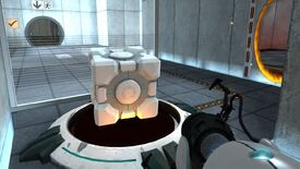 Portal - A player points their portal gun at a companion cube that's been placed on top of a large button. An orange portal is open on a wall on their right.