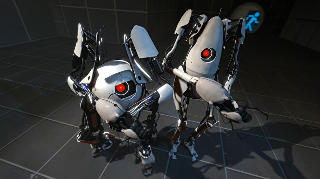 The two robot pals get ready to solve puzzles in Portal 2