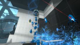 A screenshot of Portal 2 showing blue paint following out of the ceiling and several blue-smeared turrets bouncing around.