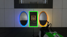 Portal Reloaded mod - A player holding a portal gun looks at a wall with three portals: blue, orange, and green.