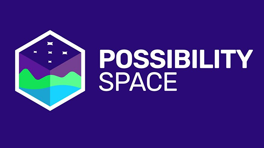 Possibility Space name and logo on a purple background - A purple cube that appears to be a cross-section of water, mountains, sky, and stars.