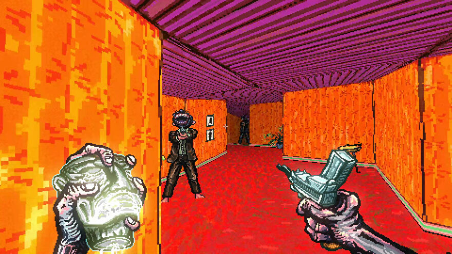 You hold a skull and point a gun at an enemy with a big toothy mouth face.