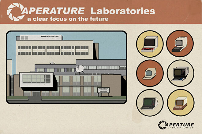 An illustration of an office building and some iconography beneath an Aperture Science Lab logo.