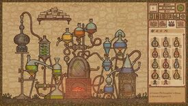 Potion Craft - The Alchemy Machine in the basement consisting of many connected vials and tubes with liquids of different colors in a medieval manuscript style illustration.