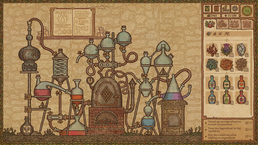 Potion Craft - the very complex Alchemy Machine with many test tubes and glass vials connected to a central machine.