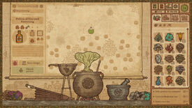 Potion Craft early access - A cauldron kit emits a green cloud of smoke for a completing potion of fire and poisoning. The players inventory of plant ingredients is open in the right bar.