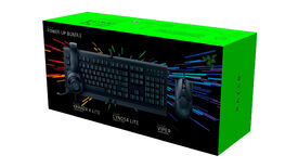 a photo of a box of PC peripherals by Razer, including a Kraken X Lite headset, Cynosa Lite keyboard and Viper mouse