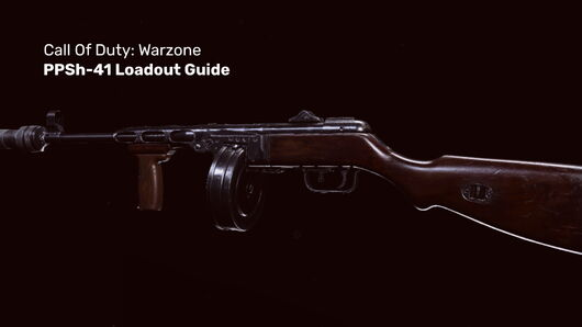 The PPSh-41 gun in Warzone on a blank background.