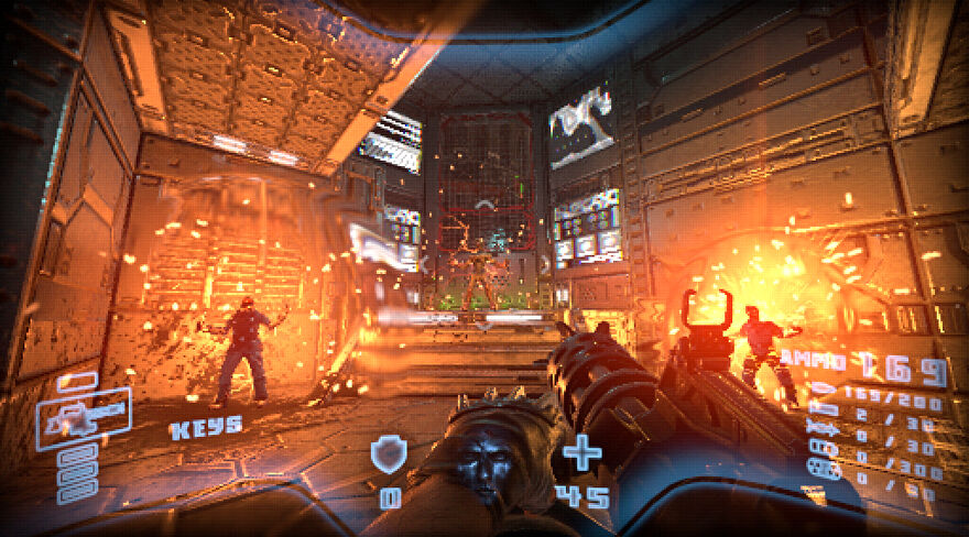 Prodeus - The player points a minigun at a room with three enemies